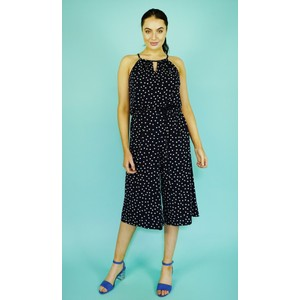 London Times Navy & White Polka Dot Crop Jumpsuit
