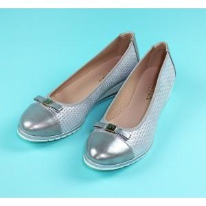 Pamela Scott Silver Bow Detail Flat Slip On Shoe