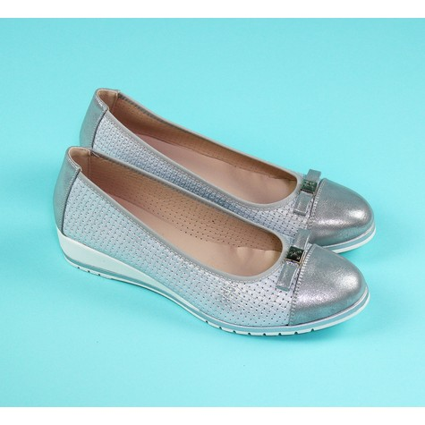 Pamela Scott Silver Bow Detail Flat Slip On Shoe
