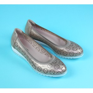 Pamela Scott Champagne Slip On Flat Shoe