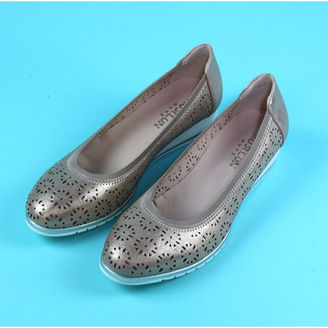 Pamela Scott Champagne Slip On Flat Shoe