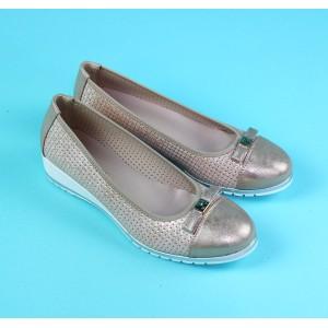 Pamela Scott Champagne Bow Detail Slip On Shoe