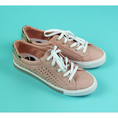 Pamela Scott Nude Star Laser Cut Lace Up Runner
