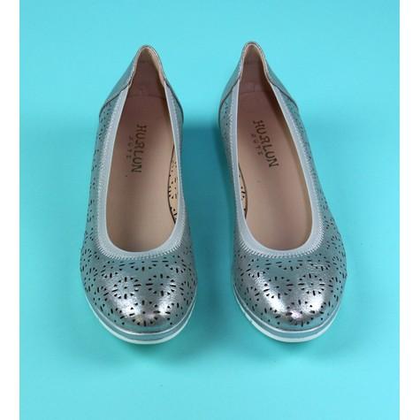 Pamela Scott Silver Laser Cut Flat Slip On Shoe