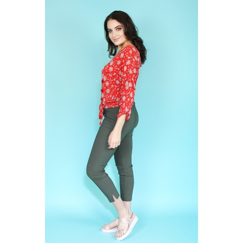 Zapara Red Floral Print Wrap Effect Top