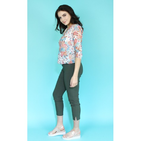 Zapara Off White Multi Colour V-Neck Top