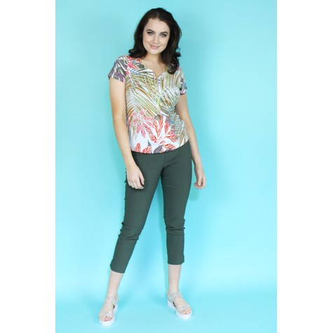 SophieB Cream & Red Leaf Print Top