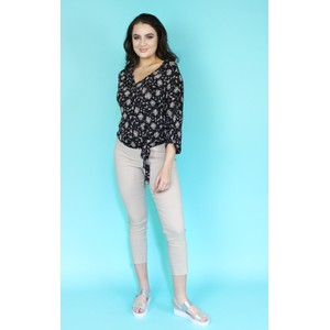 Zapara Black Floral Print Side Wrap Top