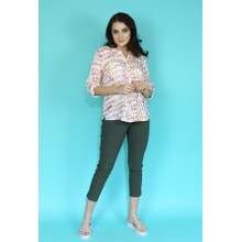 Twist Mult-colour Roll Sleeve Blouse