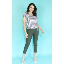 Twist White Navy Strip Light Top