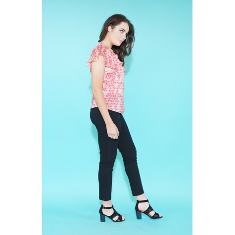 SophieB Coral Pattern Zip & Frill Detail Top