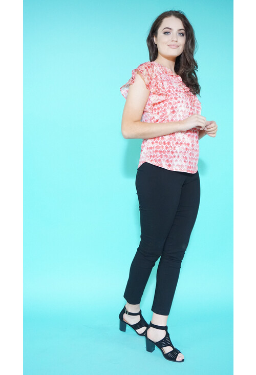 Sophie B Coral Pattern Zip & Frill Detail Top