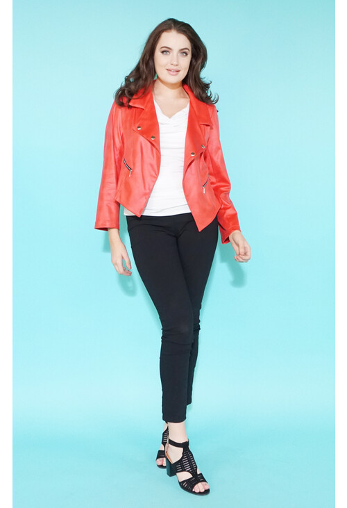 Sophie B Coral Denim Zip Detail Crop Jacket