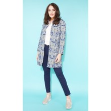 SophieB Lemon & Blue Geometric Long Open Jacket