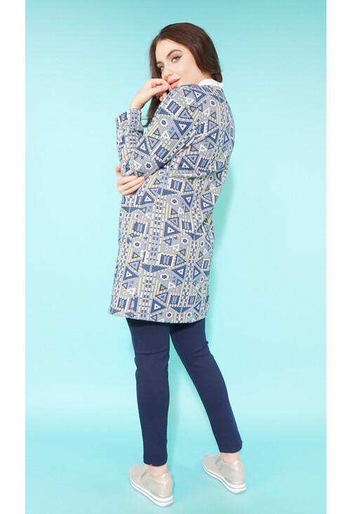 Sophie B Lemon & Blue Geometric Long Open Jacket