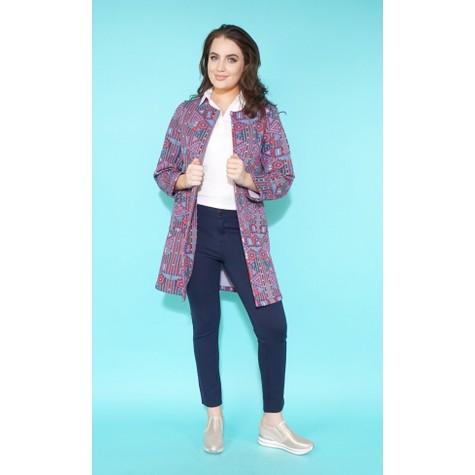 SophieB Red & Navy Geometric Long Open Jacket
