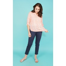 Twist Pale Coral Snake Pattern Top