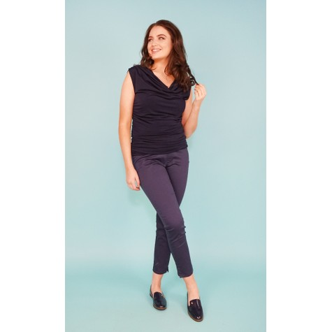 Zapara Navy Rouched Sleeveless Top