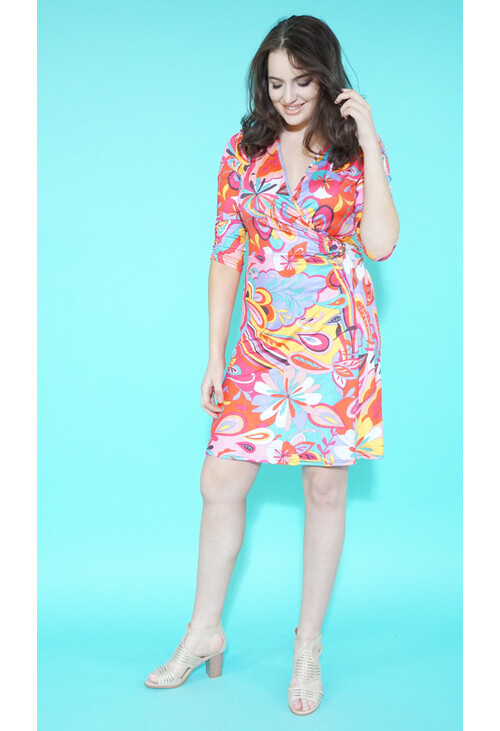 Zapara Pink Pucci Print Wrap Dress