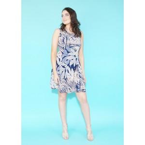 Zapara Navy & Yellow Palm Print Dress