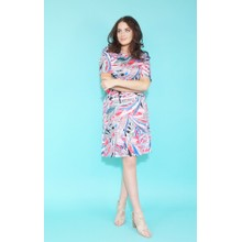 Zapara Fushia & Blue Geometric Print Pattern Dress