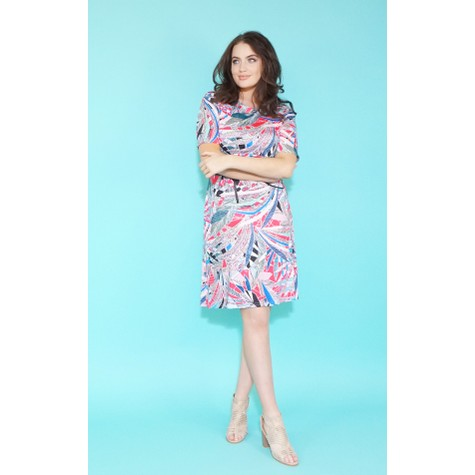 Zapara Fushia & Blue Geometric Print Pattern Dress