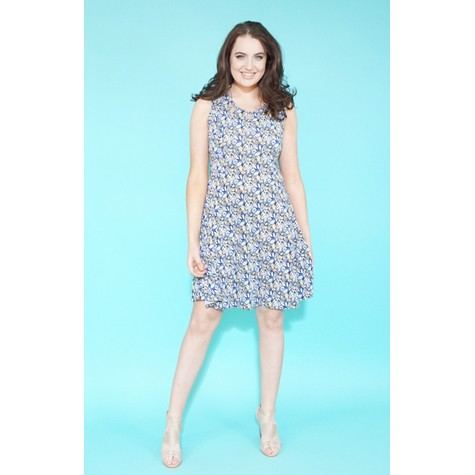 Zapara Blue & Lemon Small Leaf Print Dress