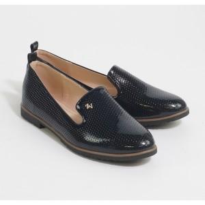 Laura Mode Black Patient Slip Loafers