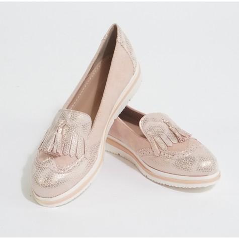 Pamela Scott Pink Metallic Slip Loafers