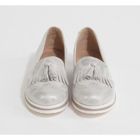 Pamela Scott Grey Metallic Slip On Loafer