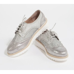 Laura Mode White & Silver Lace Up Brogues