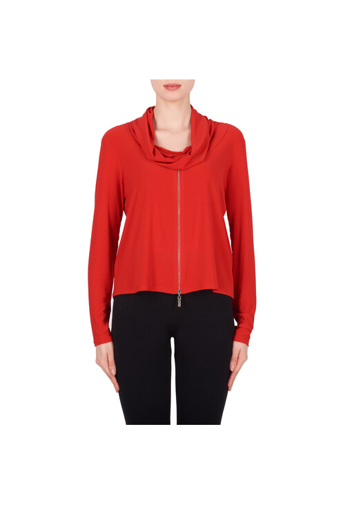 Joseph Ribkoff Red Rouched Neck Long Sleeve Top