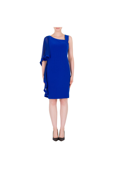 Joseph Ribkoff Royal Blue Cape Sleeve Dress