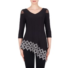Joseph Ribkoff Black & White Floral Trim Top