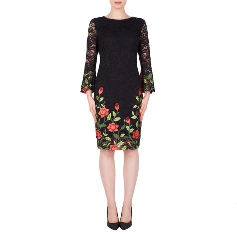 Joseph Ribkoff Black Floral Embroidery Dress