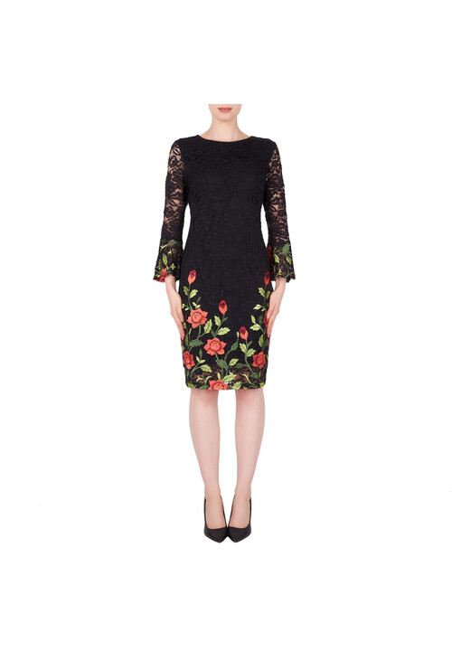 Joseph Ribkoff Black Floral Embroidery Dress