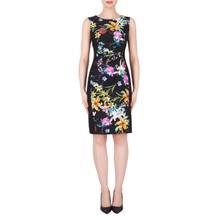Joseph Ribkoff Black Sleeveless Floral Print Dress