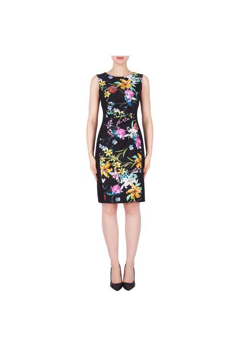 Joseph Ribkoff Black Sleeveless Floral Print Dress