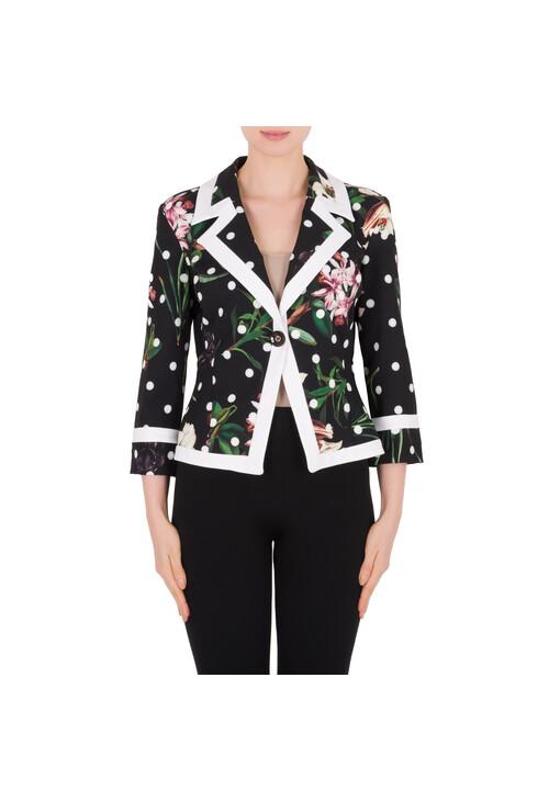 Joseph Ribkoff Floral Print White Polka Dot Classic Jacket
