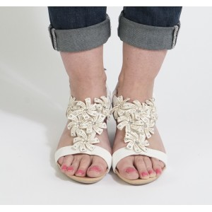 0a54ab8f388 Libra Pop White Flower Pattern Wedge Sandals