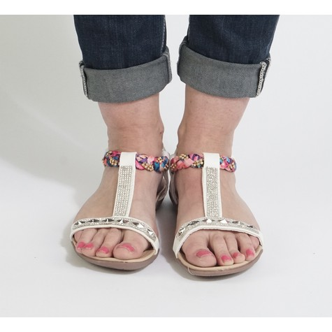 Libra Pop Pink & Diamante Flat Sandal