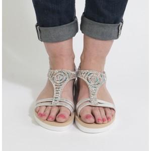 Pamela Scott Silver Diamante Wedge Sandal