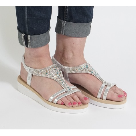 Pamela Scott Silver Diamante Wedge Sandal