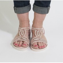 Pamela Scott Pink Diamante Wedge Sandal