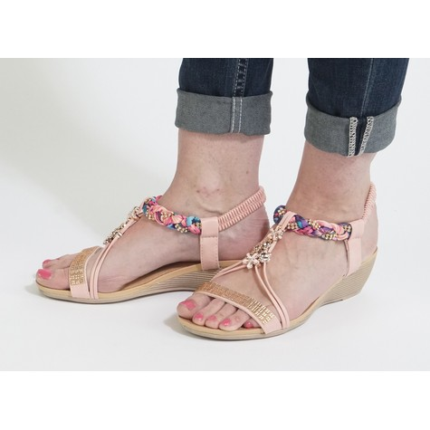 Libra Pop Pink Flower Jewel Detail Sandals