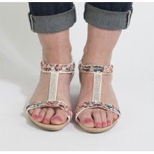 Libra Pop White Jewel Detail Sandals