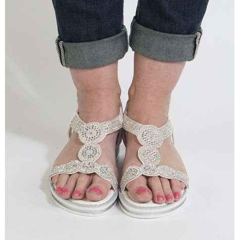 Pamela Scott Grey Diamante Detail Sandals