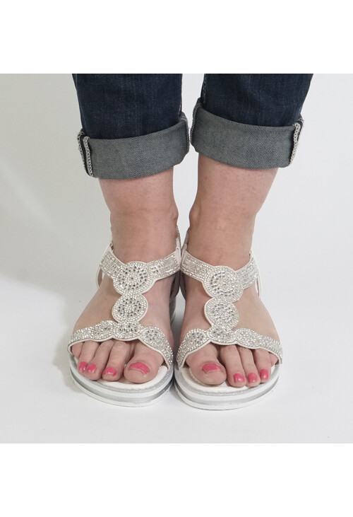 Pamela Scott Grey Diamante Detail Sandals