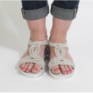 Pamela Scott Grey Diamante Detail Sandal