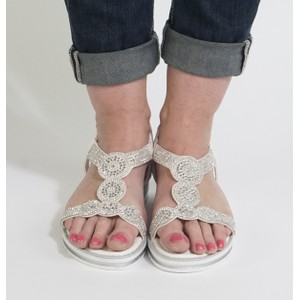 Pamela Scott White Diamante Detail Sandals